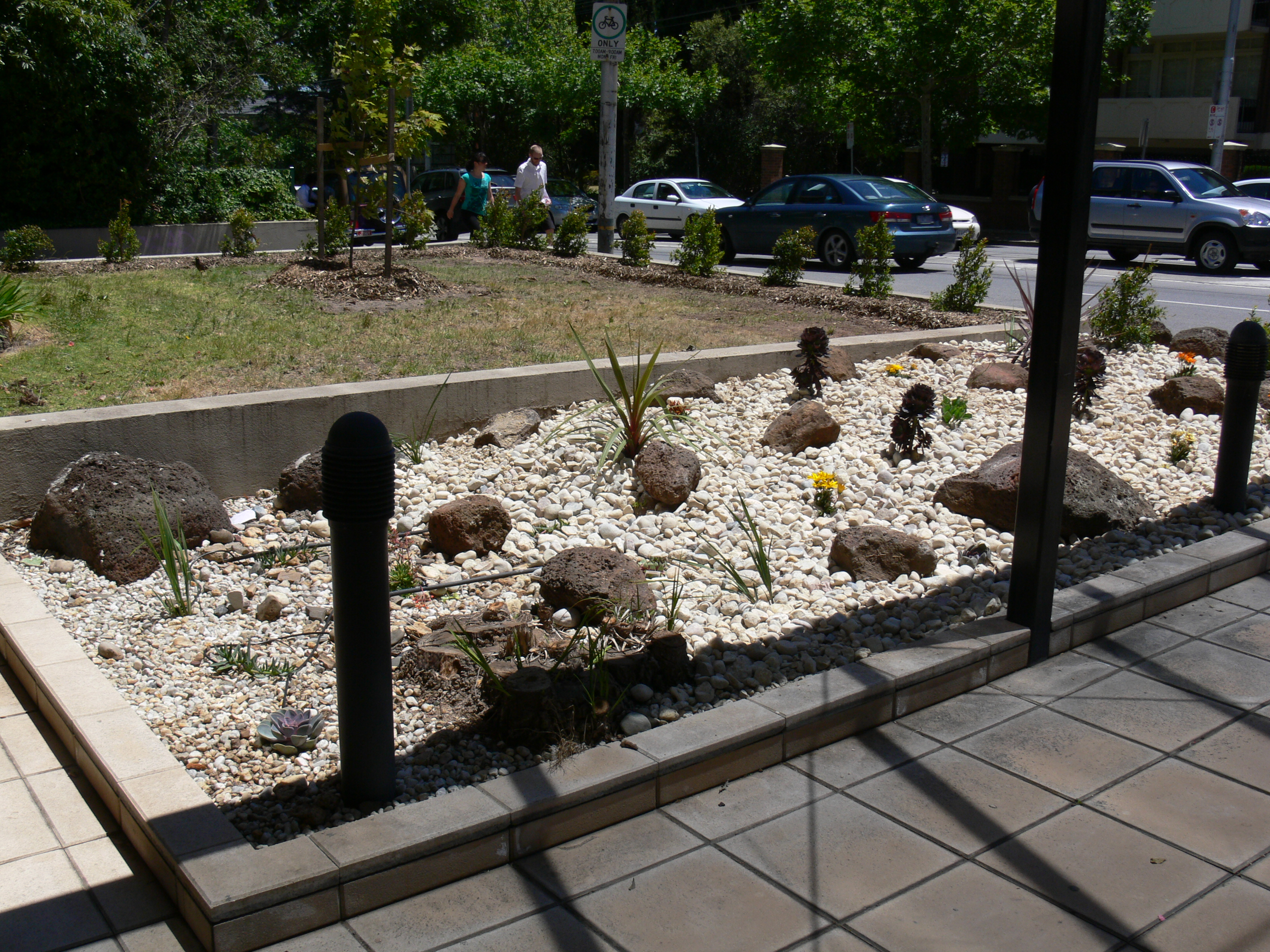 Newly planted rock garden