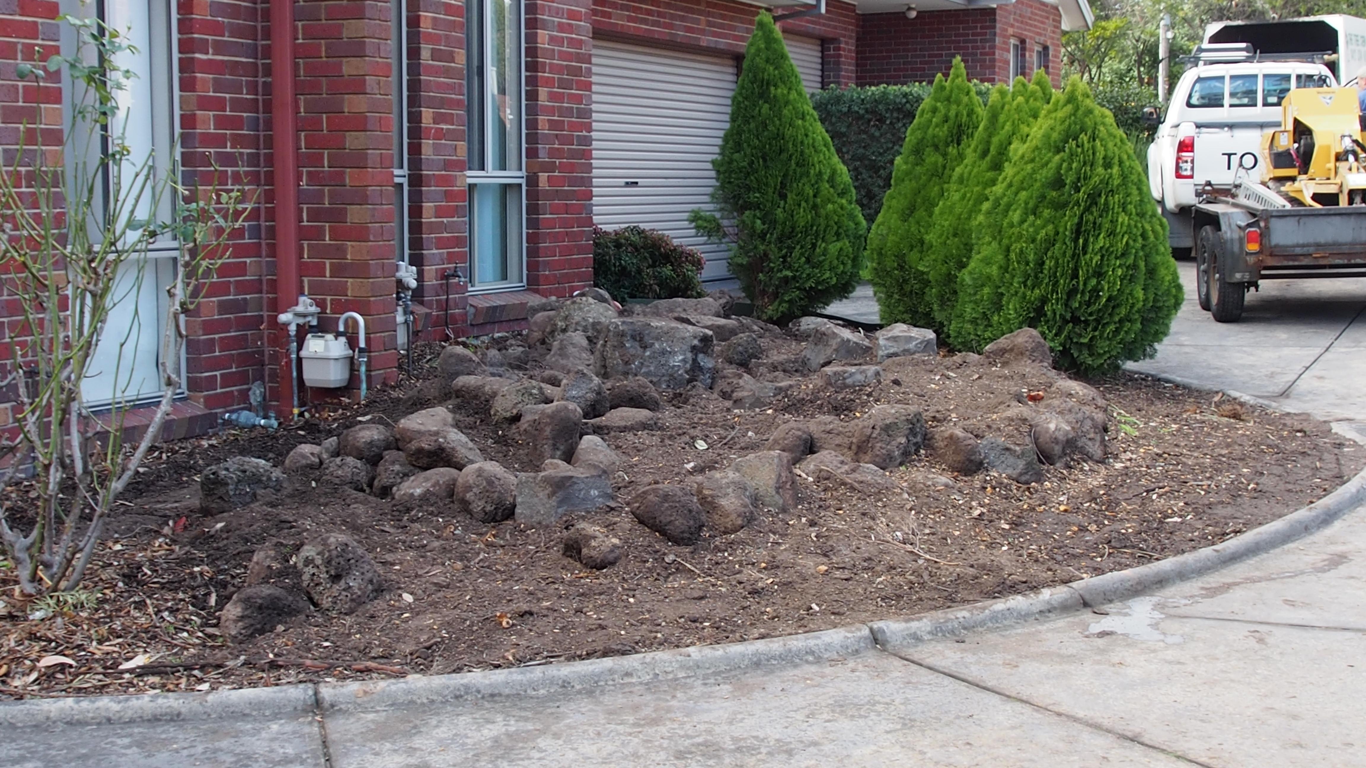 Bare circular rockery garden