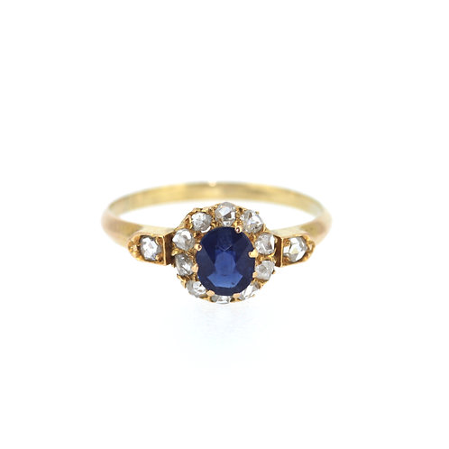 Old Cut Sapphire And Diamond Ring