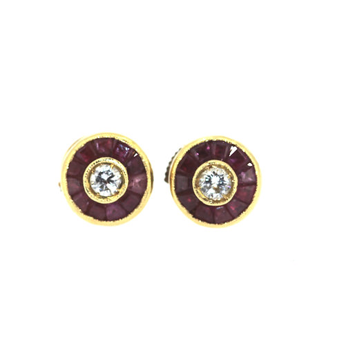 Ruby And Diamond Target Earrings