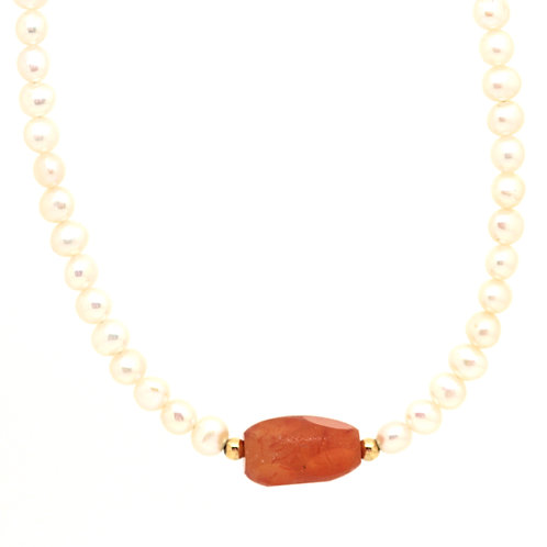 Carnelian And Pearl Pendant