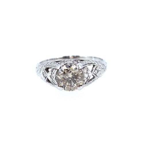 Old Cut Cognac Diamond Solitaire Ring