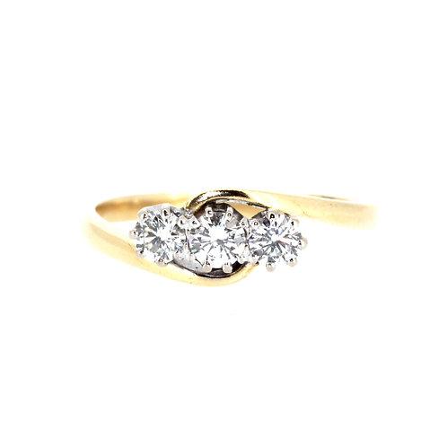 Classic Three Stone Twist Diamond Ring