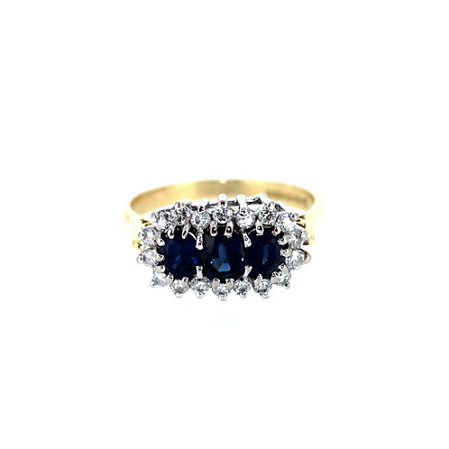Three Stone Sapphire Cluster Ring
