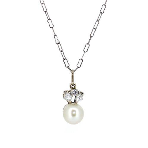 Art Deco Pearl And Diamond Pendant