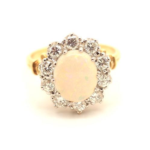 Opal Diamond Cluster Ring