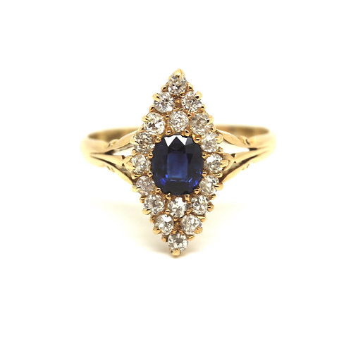 Sapphire And Diamond Marquis Ring