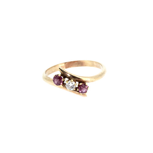 Pink Sapphire And Diamond Twist Ring