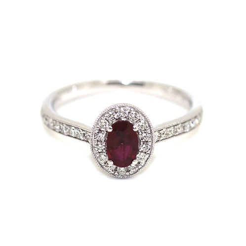 Ruby And Diamond Cluster Halo Ring