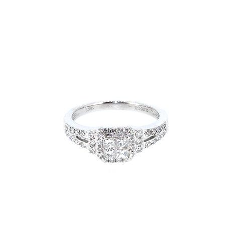 Modern Square Diamond Cluster Ring
