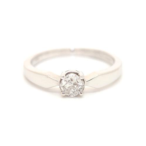 Diamond Triangular Cut Cluster Ring