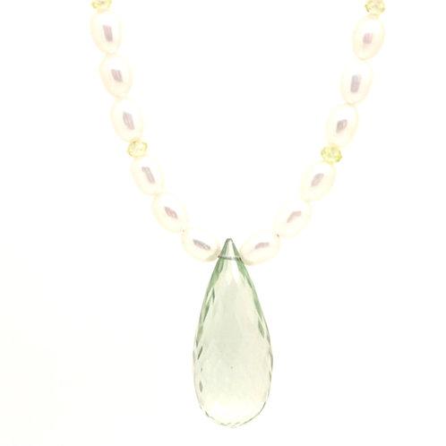 Azurite And Pearl Pendant