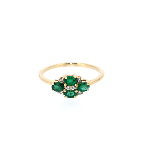 Four Stone Emerald And Diamond Ring