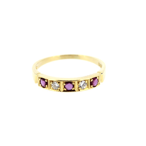 Ruby And Diamond Half-Eternity Ring