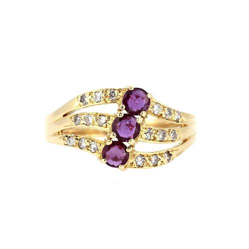 Fancy Three Stone Ruby And Diamond Ring