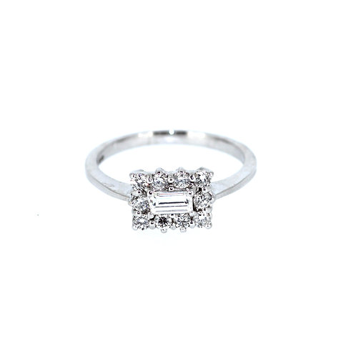 Emerald Cut Diamond Cluster Ring