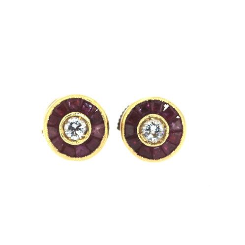 Ruby And Diamond Target Earrings