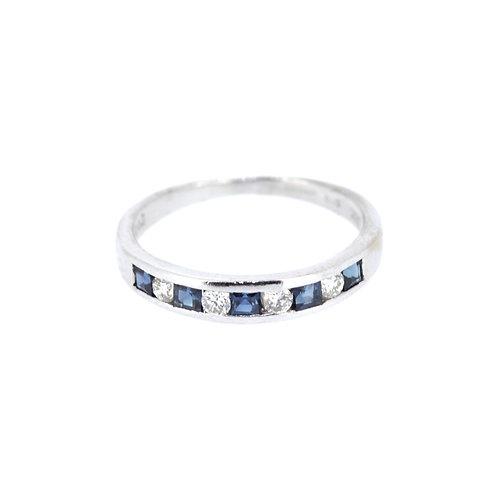 Sapphire And Diamond Half-Eternity Ring