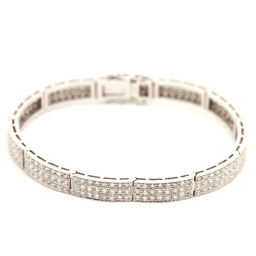 6ct Triple Row Diamond Bracelet set in 18ct white gold
