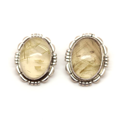 Rutilated Quartz Silver Clip Earrings