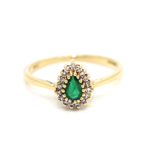 Pear Shaped Emerald Cluster Ring