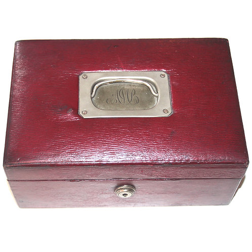 Antique Victorian Red Leather Jewellery Box