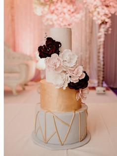 burgundy and gray wedding cake