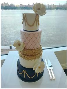 pink black gold wedding cakes