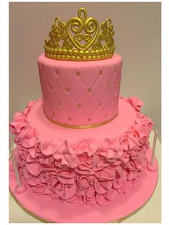 royal pink baby shower cake