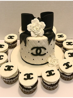 designer chanel birthday cake and cupcakes