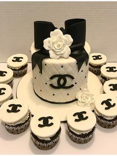 designer chanel birthday cake and cupcakes