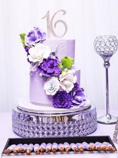 purple bling sugar flower sweet 16 cake
