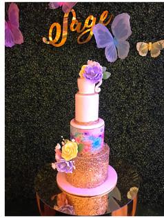 garden tea party baby shower cake