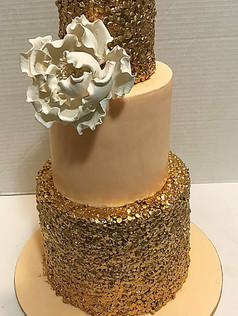 peach and gold sequins cake