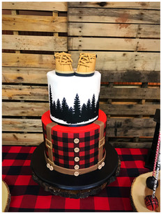 lumberjack baby shower cake