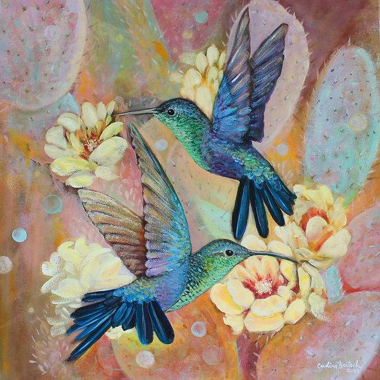 """Hummingbirds and Cactus"""