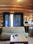 CAbin sitting room, wood heater