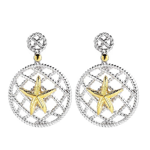 STERLING SILVER AND 14K YELLOW GOLD STARFISH EARRINGS