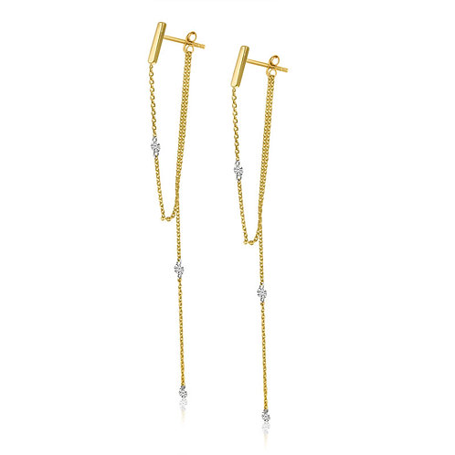 PIERCED DIAMOND CHAIN EARRINGS