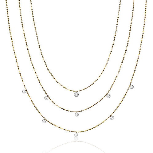 14K Dashing Diamonds Triple Chain Necklace