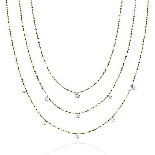 14K Dashing Diamonds Triple Chain Necklace