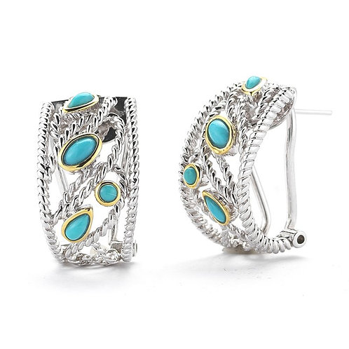 STERLING SILVER AND 14K YELLOW GOLD TURQUOISE EARRINGS