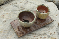 Wood Fired Tea Bowls with Tray