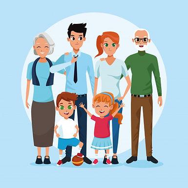 familia-abuelos-padres-ninos-dibujos-ani
