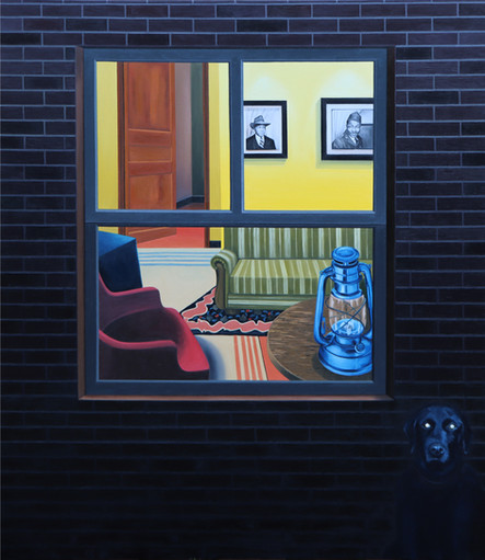 Window night view with a dog, 2020