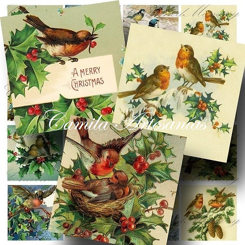 Navidad postales pajaritos  20 x 20 cod SNAV164