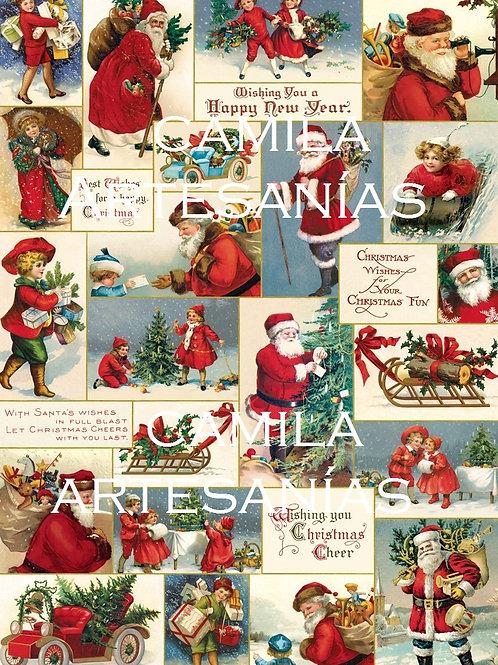 Navidad Santa VIntage A4 cod SNAV163