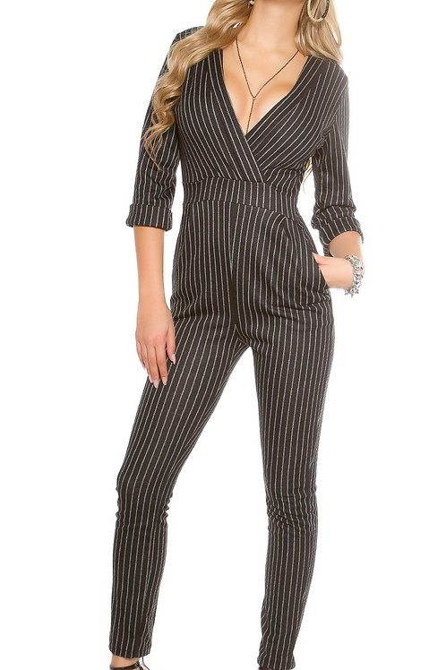Sexy pinstripe business overall