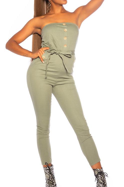 Sexy bandeau jumpsuit with belt