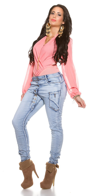 CurvyGirl Size! Trendy skinny jeans with buttons
